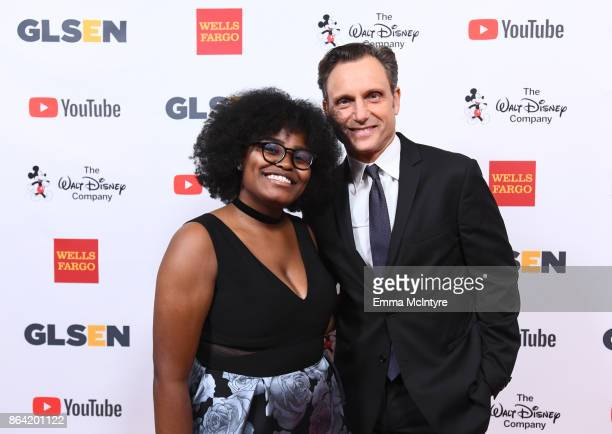 Imani Sims and honoree Tony Goldwyn at the 2017 GLSEN Respect Awards at the Beverly Wilshire Hotel on October 20 2017 in Los Angeles California