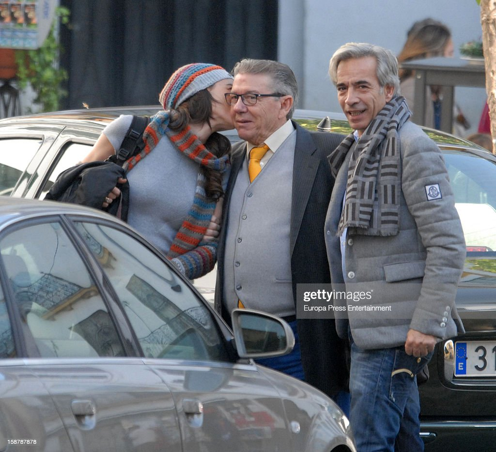 Imanol Arias (R) and Irene Meritxell (L) are seen on December 24, 2012 in Seville, Spain.