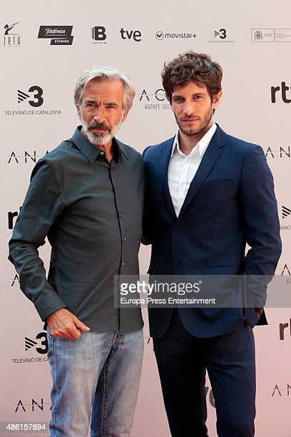 Imanol Arias and Quim Gutierrez attend 'Anacleto Agente Secreto' photocall on September 1 2015 in Madrid Spain