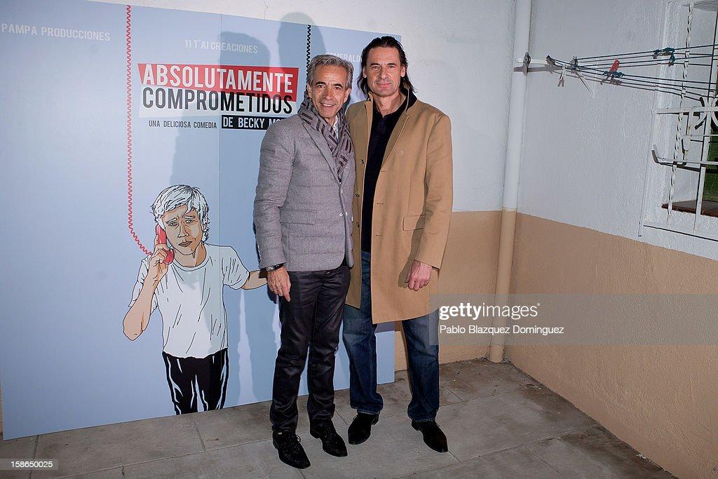 Imanol Arias and Victor Ochoa attend 'Absolutamente Comprometidos' premiere at Teatro del Arte de Madrid on December 22, 2012 in Madrid, Spain.