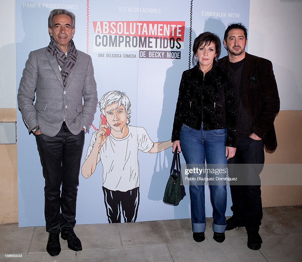 Imanol Arias, Lucia Bouzas and Miguel Pittier attend 'Absolutamente Comprometidos' premiere at Teatro del Arte de Madrid on December 22, 2012 in Madrid, Spain.