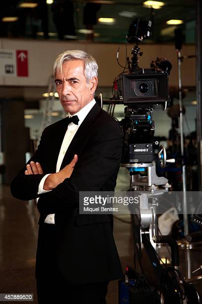 Imanol Arias poses on the set of his latest movie 'Anacleto Agente Secreto' being filmed at the Palau de Congressos Fira de Montjuic on July 29 2014...