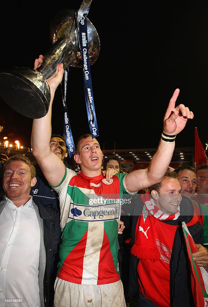 Imanol Harinordoquy the Biarritz captain celebrates with fans after their victory in the Amlin Challenge Cup Final between Biarritz Olympique and RC...