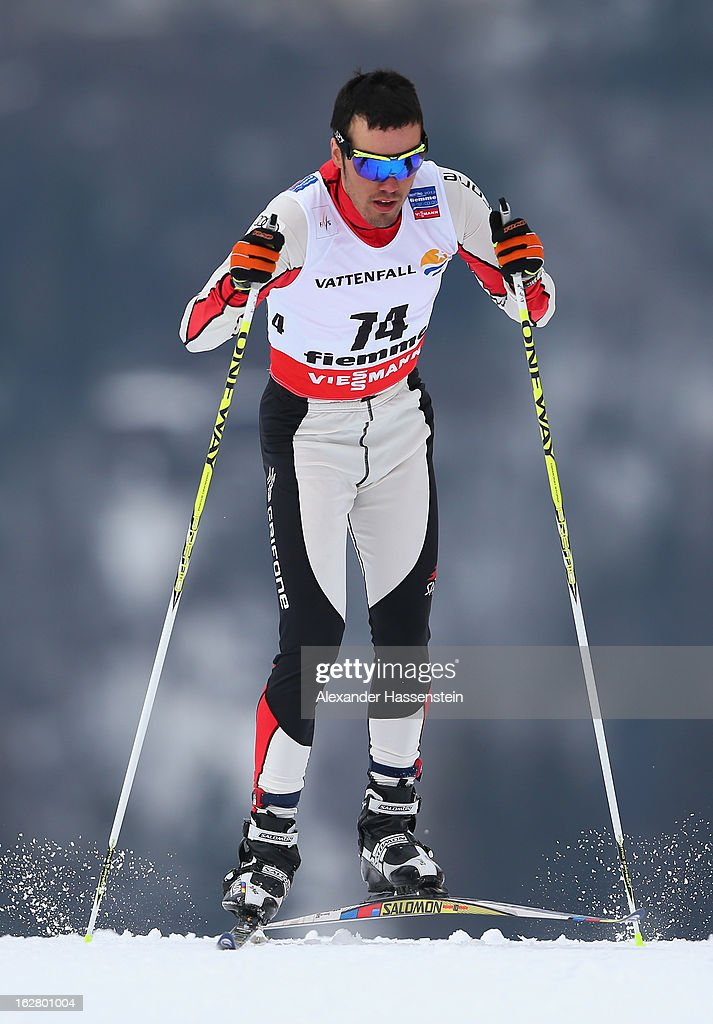 Imanol Rojo of Spain in action during the Men's Cross Country Individual 15km at the FIS Nordic World Ski Championships on February 27, 2013 in Val di Fiemme, Italy.