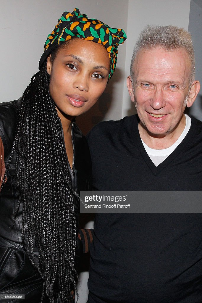Imany (L) and Jean-Paul Gaultier pose backstage following the Jean-Paul Gaultier Spring/Summer 2013 Haute-Couture show as part of Paris Fashion Week on January 23, 2013 in Paris, France.