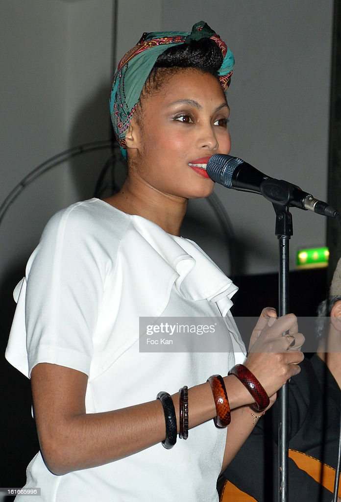 Imany performs during the 'Magnum Ice Creams' Party for Valentine's day at Pavillon Cambon Capucines on February 13, 2013 in Paris, France.