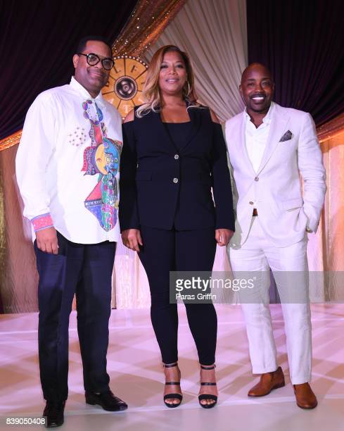 Imara Canady actress Queen Latifah and Will Packer onstage at 2017 BronzeLens Film Festival Women SuperStars Luncheon at Westin Peachtree Plaza on...