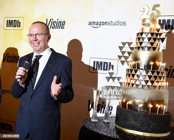 IMDb founder and CEO Col Needham speaks during IMDb's 25th Anniversary Party cohosted by Amazon Studios presented by VISINE at Sunset Tower Hotel on...