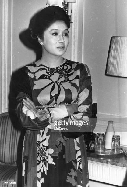 Imelda Marcos wife of the Philippines president Ferdinand Marcos at Claridges in London