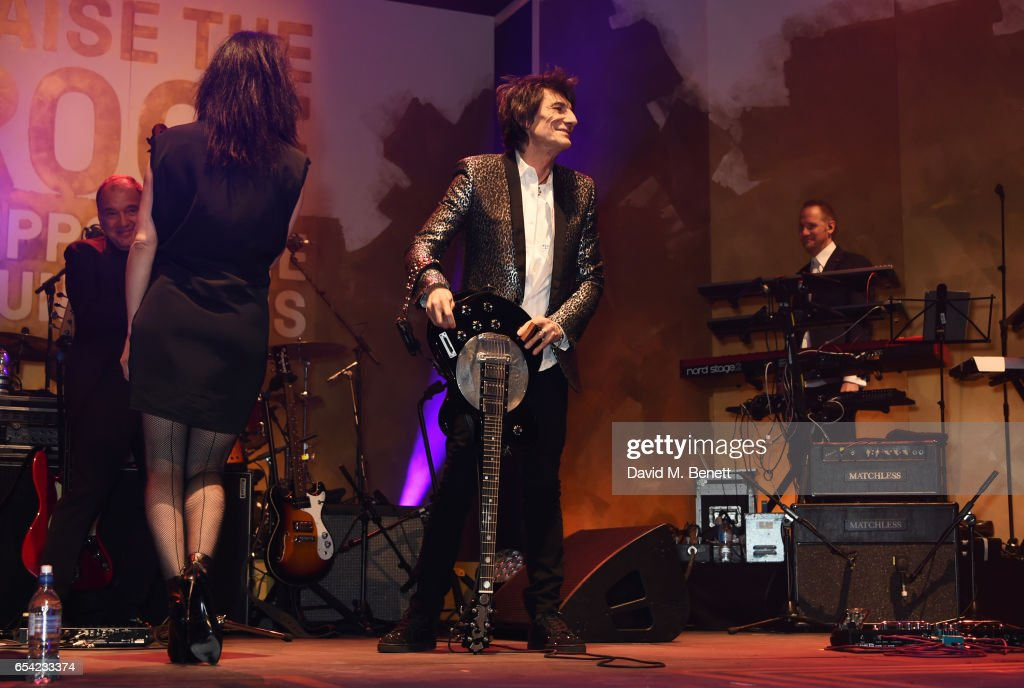 Imelda May (L) and Ronnie Wood perform at the Roundhouse Gala at The Roundhouse on March 16, 2017 in London, England.