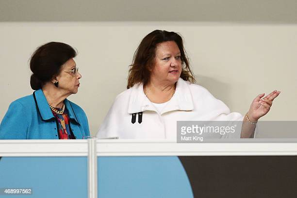 Imelda Roche and Gina Rinehart attend day seven of the Australian National Swimming Championships at Sydney Olympic Park Aquatic Centre on April 9...