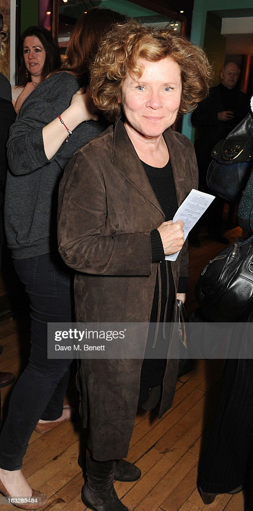 <a gi-track='captionPersonalityLinkClicked' href=/galleries/search?phrase=Imelda+Staunton&family=editorial&specificpeople=202926 ng-click='$event.stopPropagation()'>Imelda Staunton</a> attends an after party following the 'Paper Dolls' press night at Tricycle Theatre on March 6, 2013 in London, England.