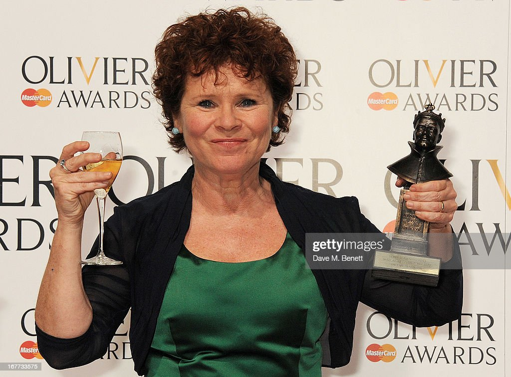 Imelda Staunton, winner of Best Actress in a Musical, poses in the press room at The Laurence Olivier Awards 2013 at The Royal Opera House on April 28, 2013 in London, England.