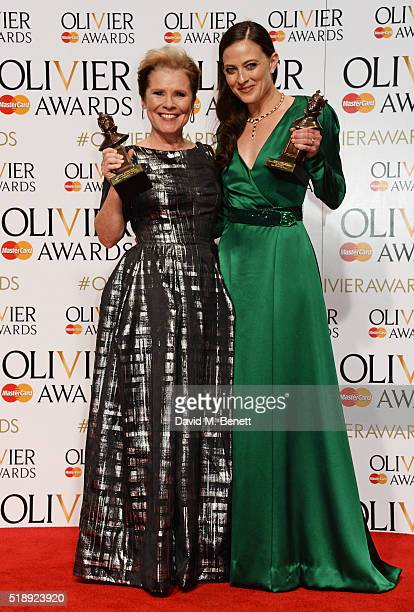 Imelda Staunton winner of the Best Actress in a Musical award for 'Gypsy' and Lara Pulver winner of the Best Actress in a Supporting Role in a...