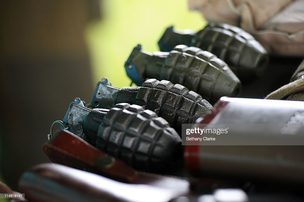 Imitation grenades on stall at Irewell Vale station as enthusiasts take part in the East Lancashire Railway's 1940's reenactment weekend at the Bury...