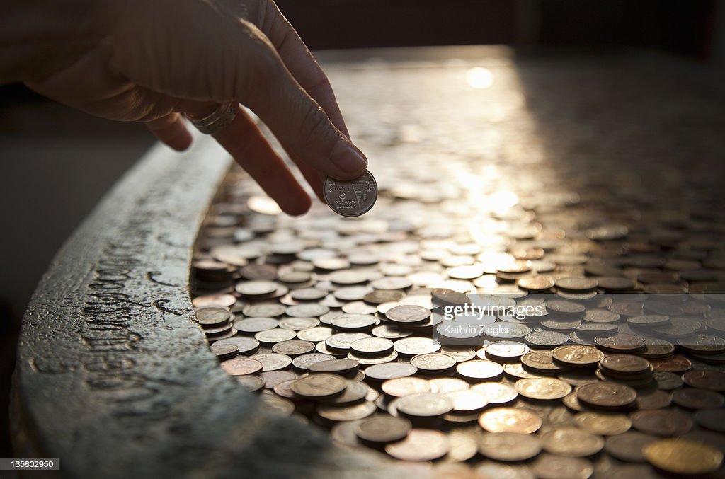 imitation of Buddha's footprint at Wat Arun Temple : Stock Photo