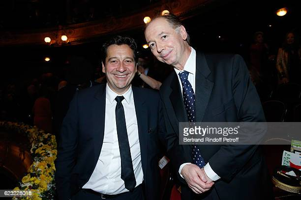 Imitator Laurent Gerra and humorist Philippe Chevallier attend the 24th 'Gala de l'Espoir' at Theatre du Chatelet on November 14 2016 in Paris France