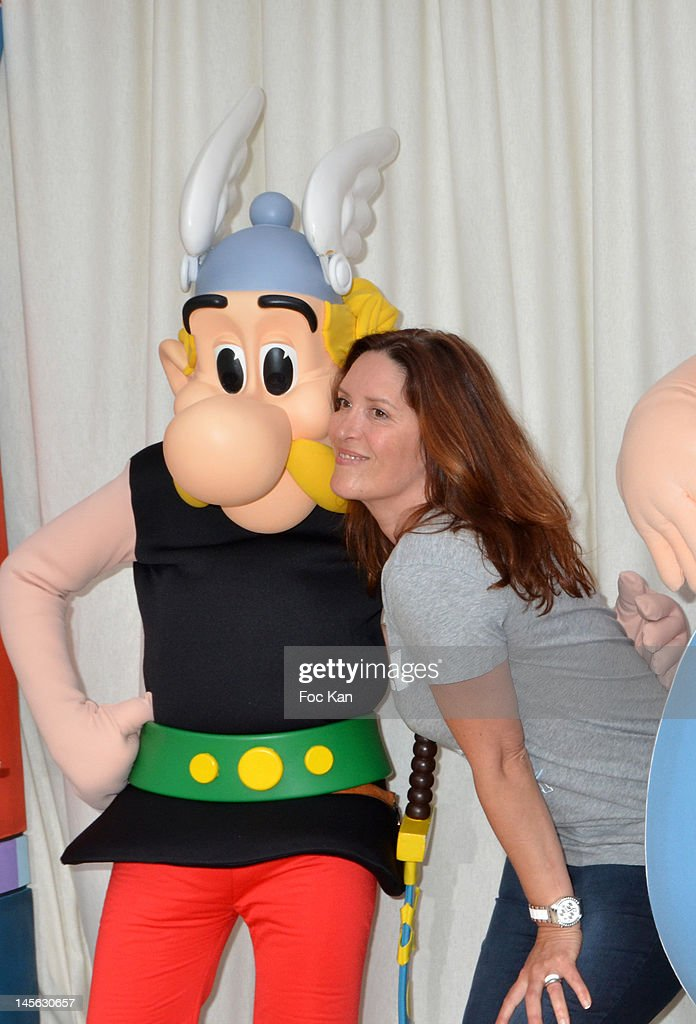 Imitator/voice for 'The Guignols de L' Info' Sandrine Alexis (R) attends the 'Oziriz' New Game Launch at the Parc Asterix on June 2, 2012 in Paris, France.