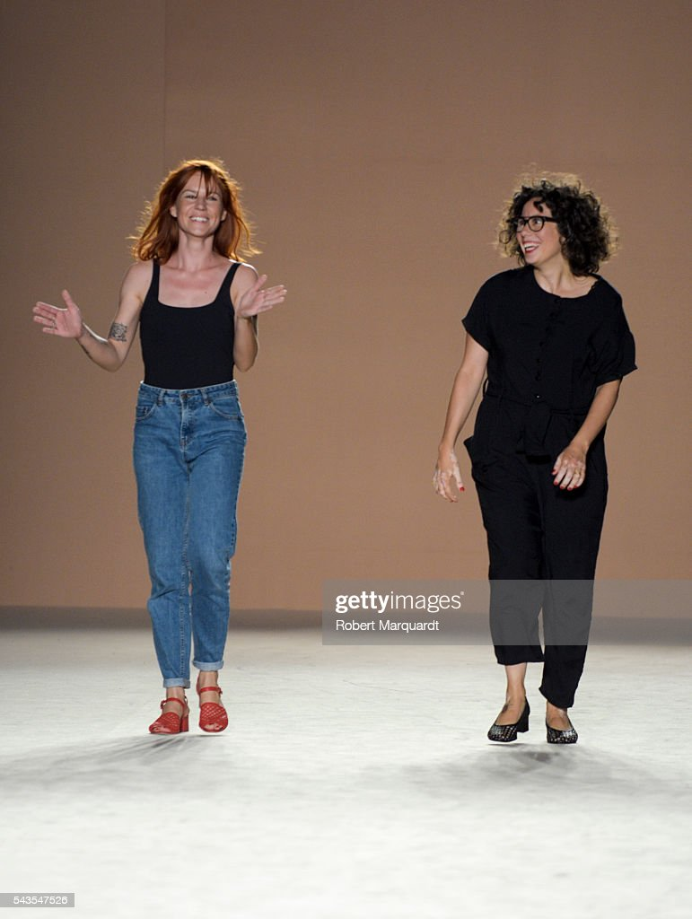 Imma Serra (L) and Xenia Semis (R) present their latest collection at the Rita Row show during the Barcelona 080 Fashion Week Spring/Summer 2017 at the INFEC on June 29, 2016 in Barcelona, Spain.