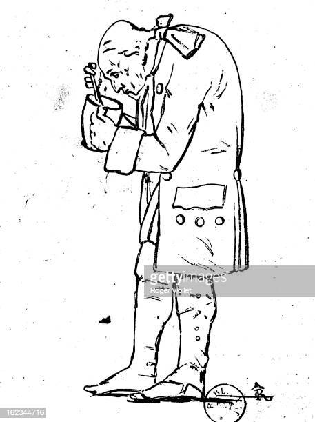 Immanuel Kant German philosopher holding a jar of mustard his weakness circa 1760 Drawing by Hagemann French National Library