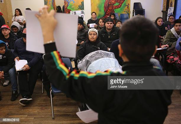Immigrants prepare to fill out forms for Deferred Action for Childhood Arrivals at a workshop on February 18 2015 in New York City The immigrant...