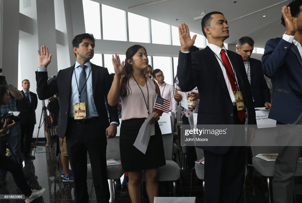 Immigrants take the oath of allegiance to the United States held in the observatory of the One World Trade Center on August 15, 2017 in New York City. Thirty immigrants took the oath of citizenship to become American citizens at One World Trade, which at 1,776 feet high is the tallest building in the Western Hemishere.