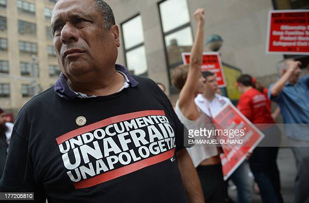 Immigration activists stage a civil disobedience action blocking a street in front of Varick Street Detention Center in New York August 22 2013...