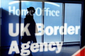 Immigration and border control signs at Edinburgh Airport on February 10 2014 in Edinburgh Scotland A recent survey have show that Scottish people...