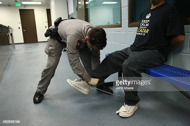 S Immigration and Customs Enforcement contractor frisks a detained immigrant at a processing center on October 14 2015 in Camarillo California ICE...