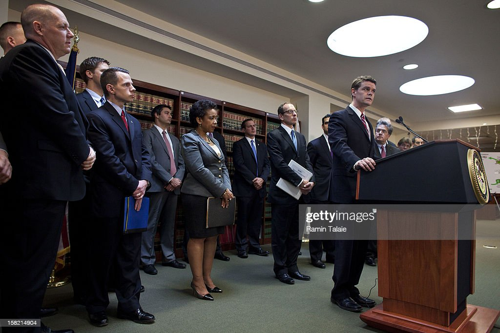 US Immigration and Customs Enforcement Director John Morton speaks during a news conference to announce money laundering charges against HSBC on December 11, 2012 in the Brooklyn borough of New York City. HSBC Holdings plc and HSBC USA NA have agreed to pay $1.92 billion and enter into a deferred prosecution agreement with the U.S. Department of Justice in regards to charges involving money laundering with Mexican drug cartels.