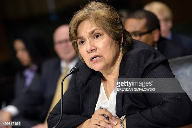 Immigration and Customs Enforcement Director Sarah Saldana testifies during hearing of the Senate Judiciary Committee on Capitol Hill December 2 2015...