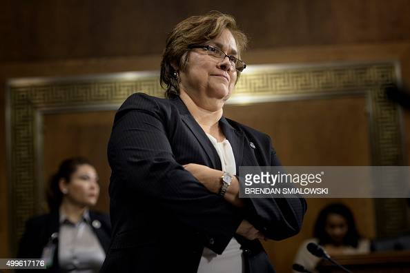 Immigration and Customs Enforcement Director Sarah Saldana waits for a hearing of the Senate Judiciary Committee on Capitol Hill December 2 2015 in...
