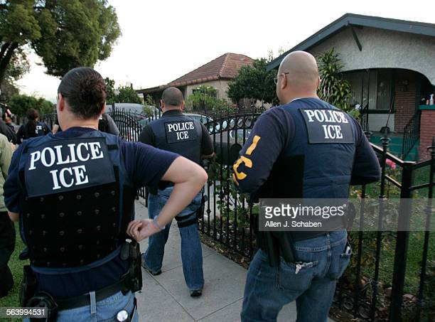 Immigration and Customs Enforcement Fugitive Operations Team members on a raid in Los Angeles ICE is doing its biggest ever fugitive operation where...