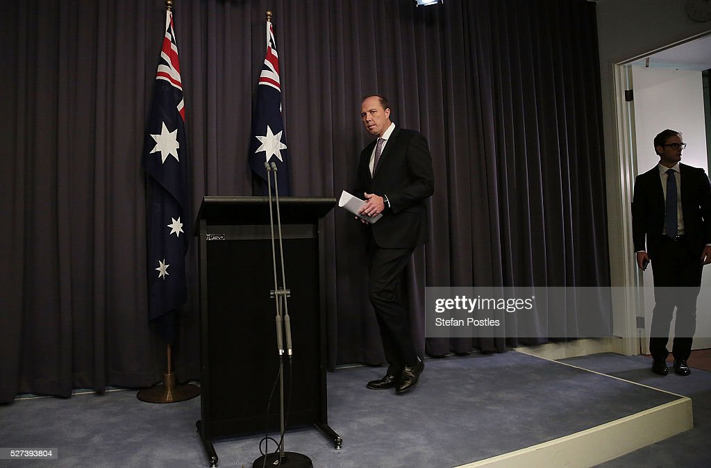 Immigration Minister Peter Dutton arrives at a press conference at Parliament House on May 3, 2016 in Canberra, Australia. Hodan Yasin, a 21-year-old Somali refugee has arrived for treatment in Brisbane after setting herself on fire while being detained in Nauru. It is the second attempt on Nauru in a week, after Iranian refugee Omid Masoumali set himself on fire last Wednesday. He later died from his injuries.