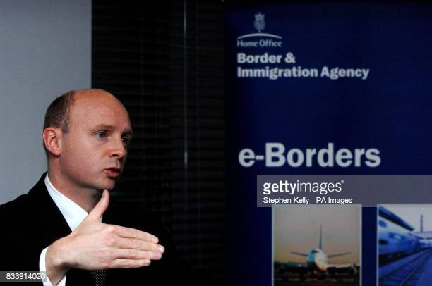 Immigration Officer Liam Burne MP speaks at a meeting where Raytheon Company were unveiled as the winning providers of technology to the new eBorders...