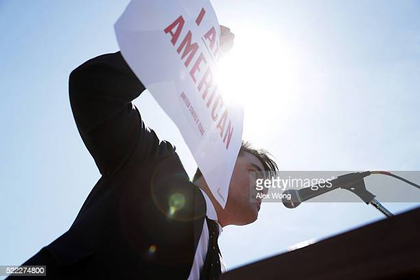 Immigration supporter Jose Antonio Vargas speaks during a rally in front of the US Supreme Court April 18 2016 in Washington DC The Supreme Court...
