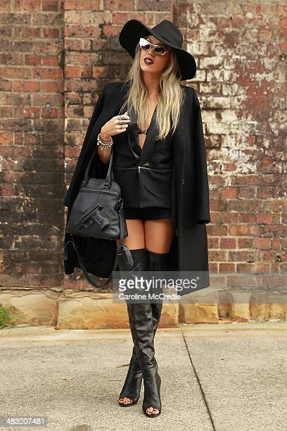 Imogen Anthony wearing an outfit Frenchi blazer Tony Bianco shoes and Vlieger Vandam bag at MercedesBenz Fashion Week Australia 2014 at Carriageworks...