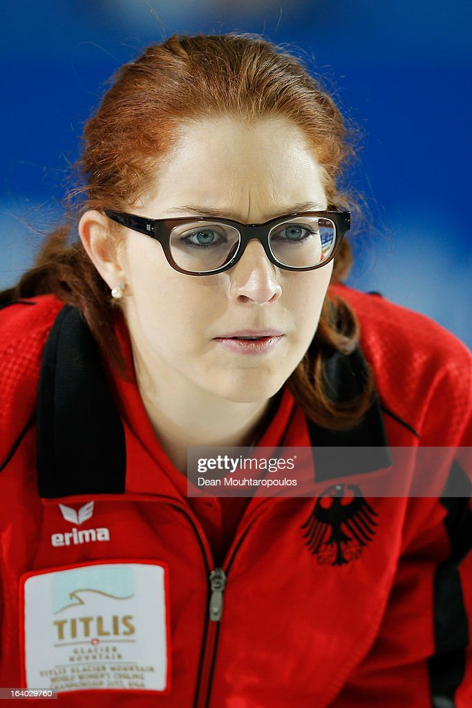 Imogen Oona Lehmann of Germany looks on in the match between Germany and China on Day 4 of the Titlis Glacier Mountain World Women's Curling Championship at the Volvo Sports Centre on March 19, 2013 in Riga, Latvia.
