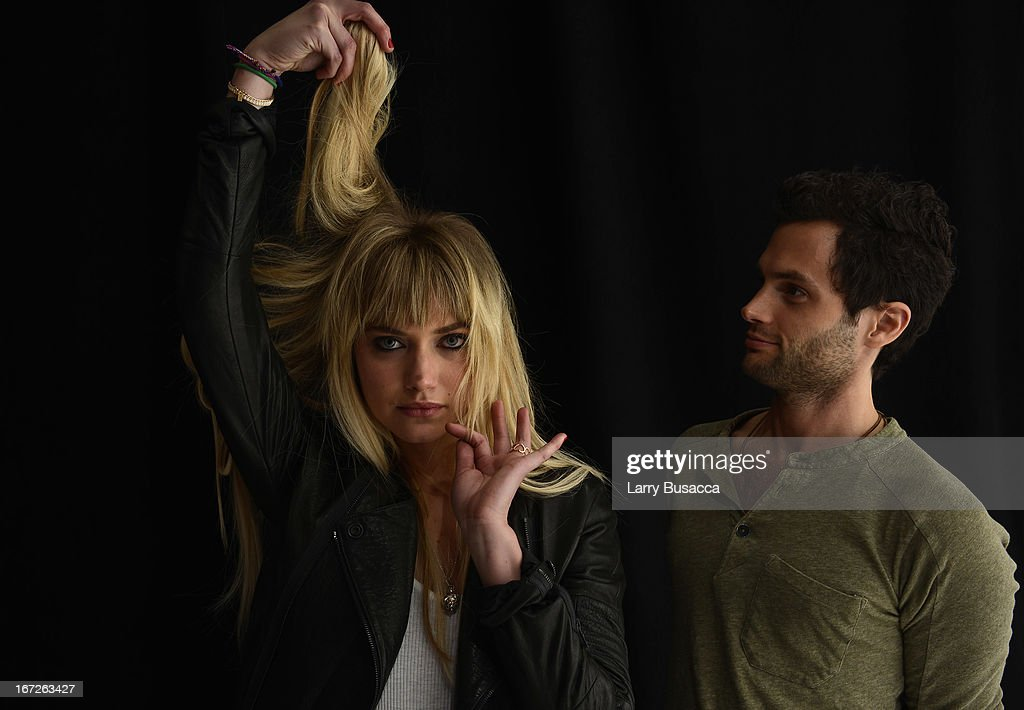 <a gi-track='captionPersonalityLinkClicked' href=/galleries/search?phrase=Imogen+Poots&family=editorial&specificpeople=4265532 ng-click='$event.stopPropagation()'>Imogen Poots</a> and <a gi-track='captionPersonalityLinkClicked' href=/galleries/search?phrase=Penn+Badgley&family=editorial&specificpeople=544488 ng-click='$event.stopPropagation()'>Penn Badgley</a>, actors in the film 'Greetings From Tim Buckley' poses at the Tribeca Film Festival 2013 portrait studio on April 23, 2013 in New York City.