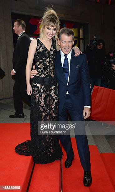 Imogen Poots and Pierce Brosnan attend the 'A Long Way Down' premiere during the 64th Berlinale International Film Festival at the...