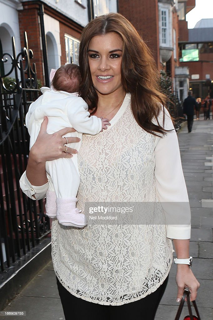 <a gi-track='captionPersonalityLinkClicked' href=/galleries/search?phrase=Imogen+Thomas&family=editorial&specificpeople=1963481 ng-click='$event.stopPropagation()'>Imogen Thomas</a> and her baby Ariana seen arriving at the Tatiana's Hair Extensions - Annual Anniversary Party on April 18, 2013 in London, England.