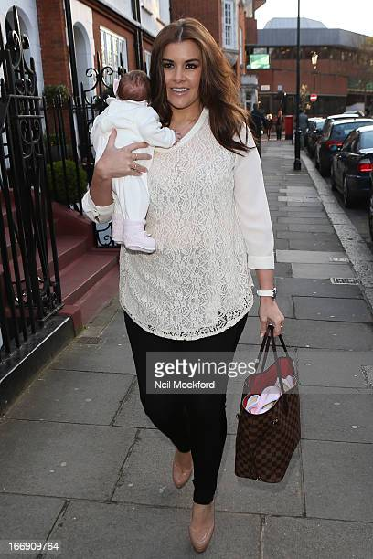 Imogen Thomas and her baby Ariana seen arriving at the Tatiana's Hair Extensions Annual Anniversary Party on April 18 2013 in London England