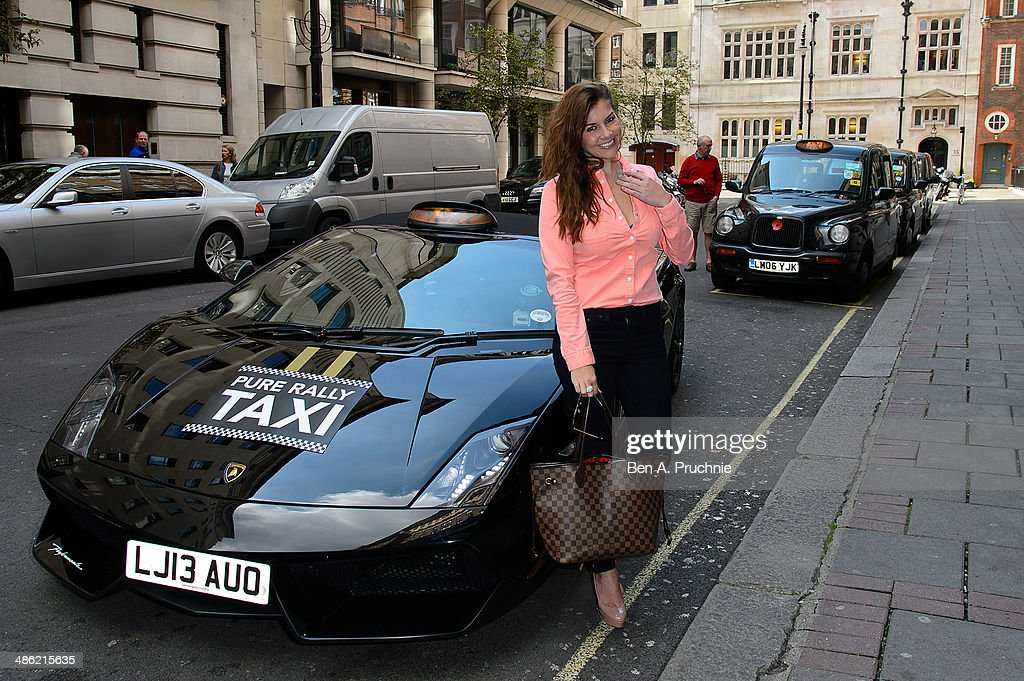 Imogen Thomas attends a photocall to launch the first London Lamborghini taxi by Pure Rally at The Mayfair Hotel on April 23, 2014 in London, England.