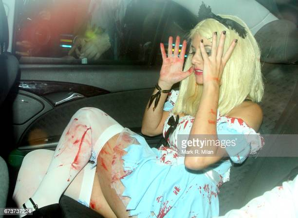Imogen Thomas departs Caprice Bourret's 40th birthday and Halloween party at the Cuckoo Club on October 27 2011 in London England