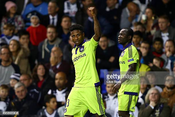 Imoh Ezekiel of Anderlecht celebrates after scoring a goal to level the scores at 11 during the UEFA Europa League Group J match between Tottenham...
