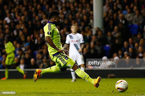 Imoh Ezekiel of Anderlecht scores a goal to level the scores at 11 during the UEFA Europa League Group J match between Tottenham Hotspur FC and RSC...