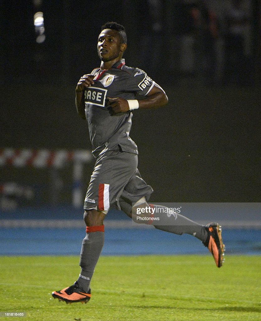 Imoh Ezekiel of Standard Liege celebrates after scoring pictured during the Cofidis Cup match between White Star and Standard of Liege on september 25 , 2013 in Woluwe, Belgium.