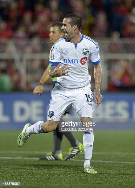 Impact of Montreal's Andres Romero celebrates a goal against Liga Deportiva Alajuelense during their Concacaf Champions League semifinal match in...