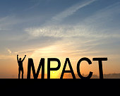 The word impact is silhouetted against an orange and blue sunset. The I in the word is made from a figure with their arms raised up in the air in a successful victory pose.