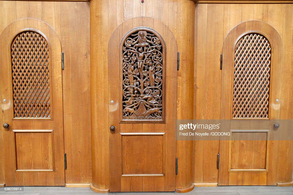 Imperial cathedral of speyer. Confessional. : Stock Photo
